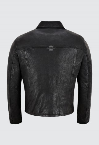 Men's Veg Tanned Leather Jacket Black Vintage Washed Effect 70's Leather Jacket 21206