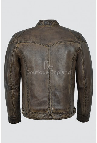 Men's Racer Dirty Brown Vintage Biker Style Motorcycle 100 % Real Leather Jacket