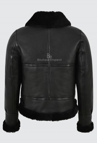 Ladies B3 Black with Black Fur Sheepskin Jacket 100% Real Shearling Flying Aviator RAF Style F-05