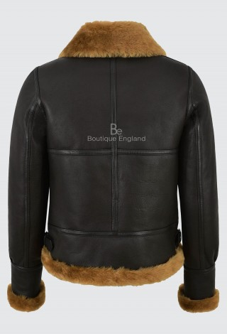 Ladies B3 Brown with Ginger Fur Sheepskin Jacket 100% Real Shearling Flying Aviator RAF Style F-05