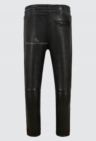 Men's Designer Chinos Trousers Lambskin Leather Black Elasticated Relax Fit 3055