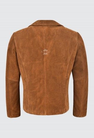Men's 70's Tan Suede Jacket Classic Collared Blazer Vintage Real Leather Jacket 4162