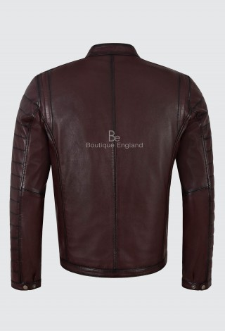 Men's Real Leather Jacket Cherry Napa Casual Fashion biker Motorcycle style 4232