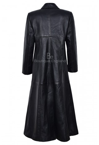 Ladies Full Length Coat Black Real Lambskin Leather Coat with Red Lining Full-Length Over Coat Gothic Coat Long Coat 298