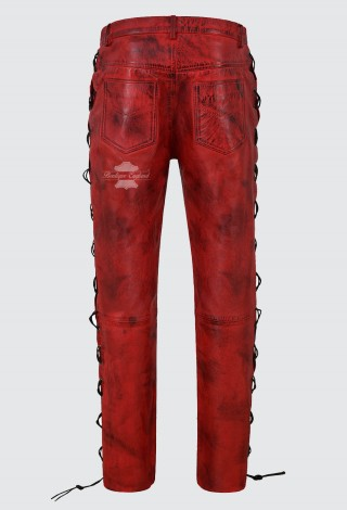 Men's Biker Leather Trouser Dirty Red Laced Motorcycle Style 100% Lambskin 00126