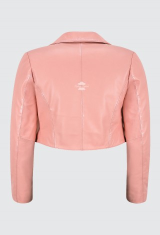 Women Baby Pink Cropped Jacket Real Leather Shrug Slim-fit Bolero Open Blazer 5650