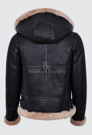 Ladies Sheepskin Jacket Brown Beige FUR Hooded FULL SOFT REAL LEATHER F-05