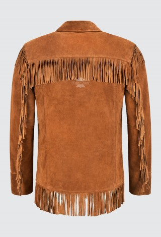 Men's Western Fringes Leather Jacket Tan Classic Fringe Real Suede Jacket 4198