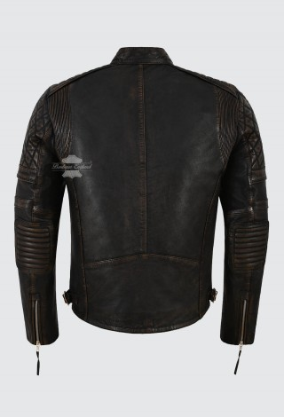 Men's Real Leather Jacket Black Rub Off Napa Quilted Classic Biker Style 4236