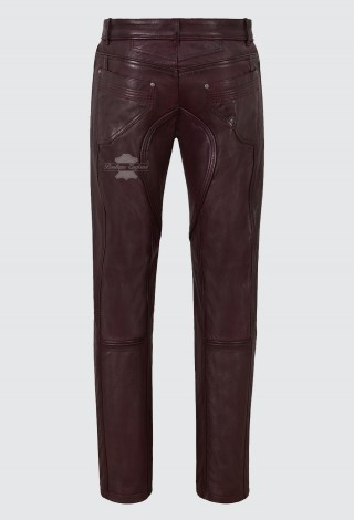 Men's Leather Pant Cherry Stylish Fashion Soft Designer Slim Fit Trousers 4669