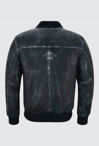 Men's Real Leather Bomber Jacket Navy Vintage Napa Street Inspired Biker Style 275-Z