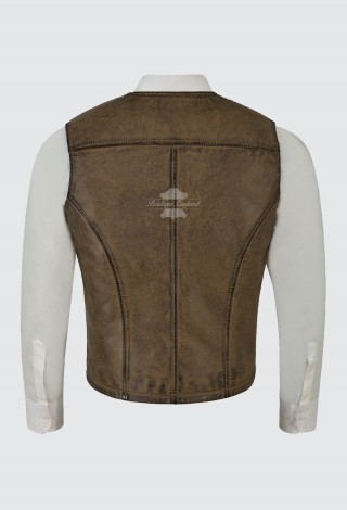 Men's Classic Dirty Brown Leather Waistcoat Motorcycle Biker Vest Nice-Fit 100% Leather 4024