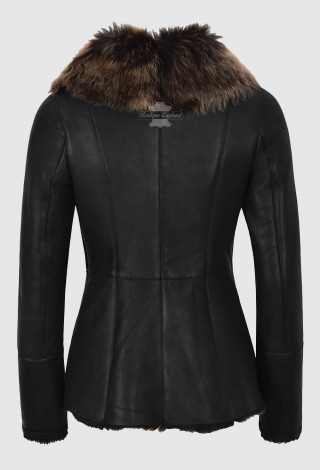 Montana Ladies Luxury Toscana Black Sheepskin Leather Jacket Shearling Fur Style SC-388