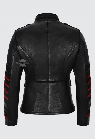 Women's Military Style Battalion Jacket 100% Leather Parade Studded Style 4252 Black
