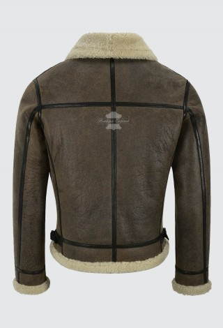 Men's B3 Air Force Real Shearling Sheepskin Whisky Beige Fur Leather Jacket Aviator Pilot Reagan