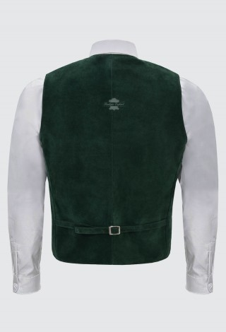 Men's Green Suede Leather Waist Coat Western Cow Boy Festival Party Vest