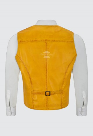 Men's Real Leather Vest 100% Lambskin New Party Fashion Stylish Yellow Waistcoat 5226