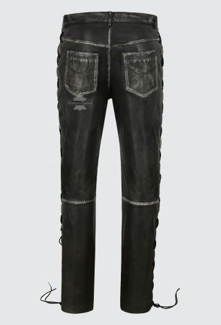 Men's Biker Laced Black Vintage Leather Trousers 100% Lambskin Riding Pants 00126