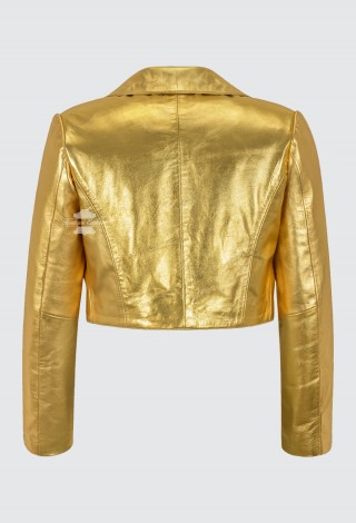 Ladies Golden Shinny Cropped Leather Shrug Slim-fit Short Body Jacket Bolero Style 5650