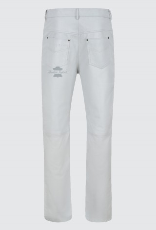 Men's Leather Pants Biker Trouser White Jeans Style Soft Nappa Leather Bottom 501