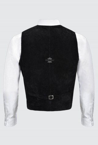 Men's Real Suede Leather Waistcoat Black Party Fashion Classic Designer Vest Zara