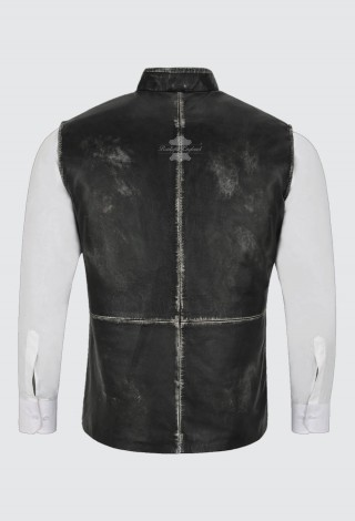Men's Black Vintage Leather Waistcoat Mandarin Collar Indian Ethnic Vest Real Napa 3946