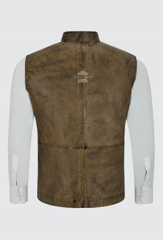 Men's Dirty Brown Leather Waistcoat Mandarin Collar Indian Ethnic Vest Real Napa 3946