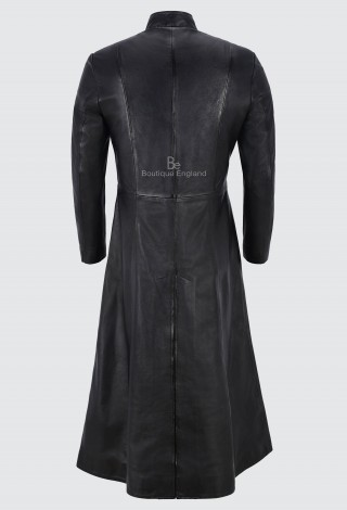 Men's FULL-LENGTH 'MATRIX RELOADED' Coat Black 100% REAL LEATHER 1425