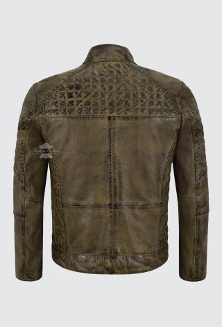 Men's Quilted Front Real Leather Jacket Dirty Brown Napa Casual Biker Style 2510