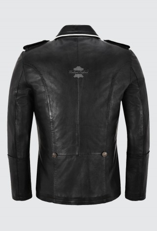Men's Classic German Style Real Leather Coat Hip Length Made of Soft Lambskin Leather Classic Collared 4851