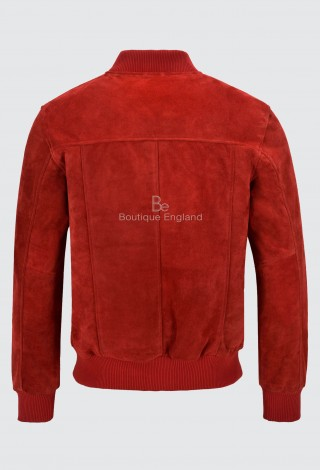 Men's 70'S Bomber Leather Jacket Red Suede Street Inspired Retro Classic 275-Z