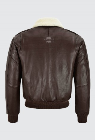 Men's Brown Aviator Bomber Leather Jacket Air Force Style B3 Fur Collared Cowhide 1224
