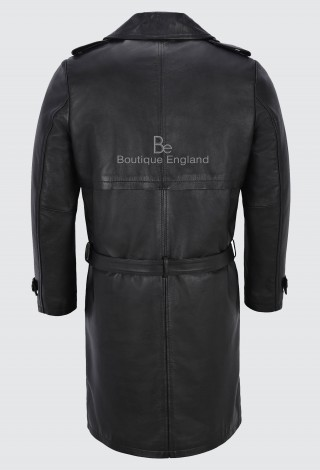 Men's Knee Length Leather Trench Coat Black Lambskin Double Breasted Classic 6970
