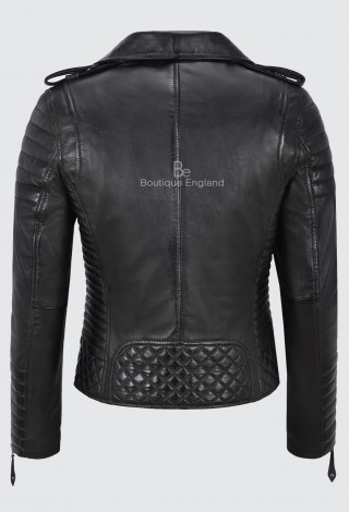 Ladies Black Leather Jacket Classic Biker Style 100% REAL NAPA LEATHER 2260
