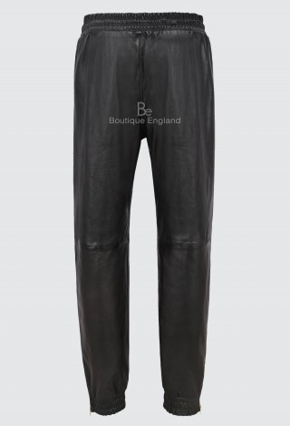 Ladies Real Leather Trouser Jogging Bottom Black Napa Sweat Track Pant Zip 3040