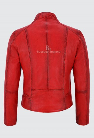 Ladies Red Real Leather Jacket Fashion Stylish Biker Style 100% LEATHER 9213