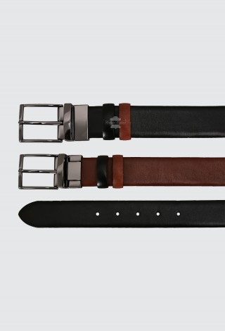 Men's Leather Belt Adjustable & Reversible Real Cow Leather Belt Black / Tan 1002