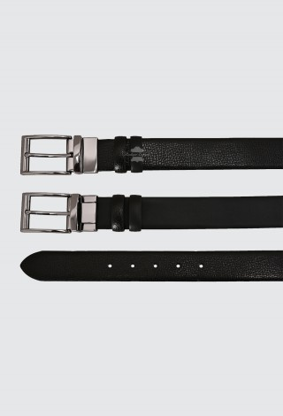 Men's Leather Belt Black Double Sided Adjustable Reversible 100% Cow Leather Belt 1002