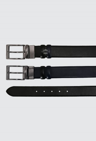 Men's Leather Belt Adjustable & Reversible Real Cow Leather Belt Black / Navy 1002