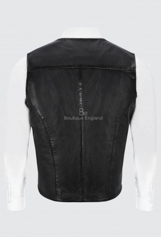 Men's Bradley Dapper Leather Waistcoat Italian Black Vest with Zip Pockets 4528