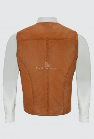 Men's Bradley Dapper Leather Waistcoat Italian Tan Vest with Zip Pockets 4528