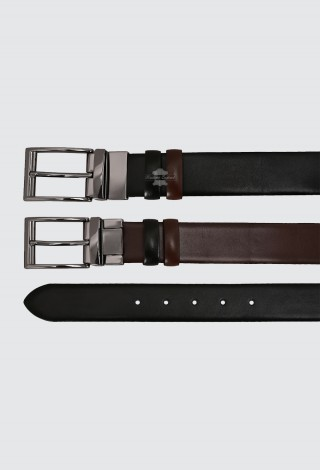 Men's Leather Belt Adjustable & Reversible Real Cow Leather Belt Black / Brown 1002