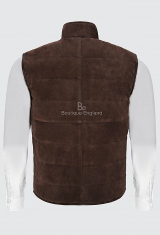 Men's Quilted Leather Waistcoat Brown Real Suede Leather Fashion Gilet Vest 1799