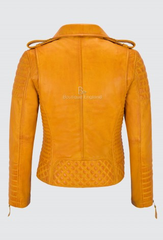 Ladies Yellow Leather Jacket Classic Biker Style 100% REAL NAPA LEATHER 2260