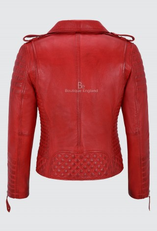 Ladies Red Leather Jacket Classic Biker Style 100% REAL NAPA LEATHER 2260