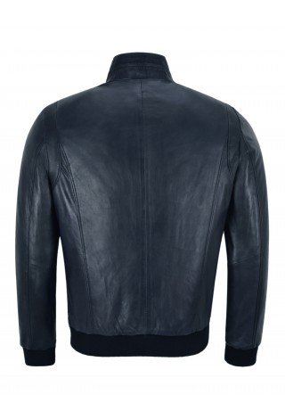 RACER Mens Leather Jacket Semi Veg Tanned Navy Casual Italian Lambskin Tops A-26