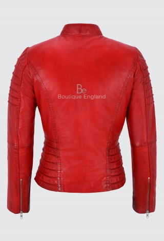 Ladies Red Leather Jacket Classic Biker Fashion Style 100% REAL NAPA LEATHER 9393