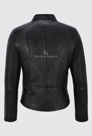 Ladies Black Real Leather Jacket Fashion Stylish Biker Style 100% LEATHER 9213