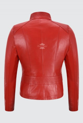 Ladies Leather Jacket Red Vega Real Napa Casual Slim Fitted Biker Jacket 7003