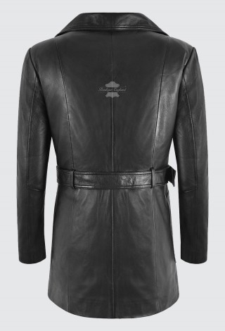Ladies Real Leather Trench Coat Black Belted Classic Fit Mid Length Jacket L-5107
